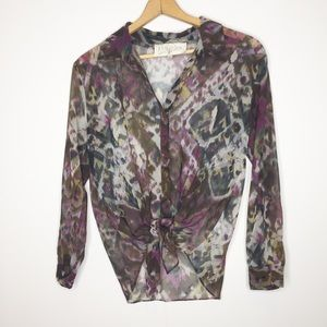 Rory Becca blouse tie front watercolor purple